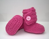 Grand Opening Sale - Crochet Baby Booties in pink (size 0-3, 3-6, 6-9, 9-12 months)