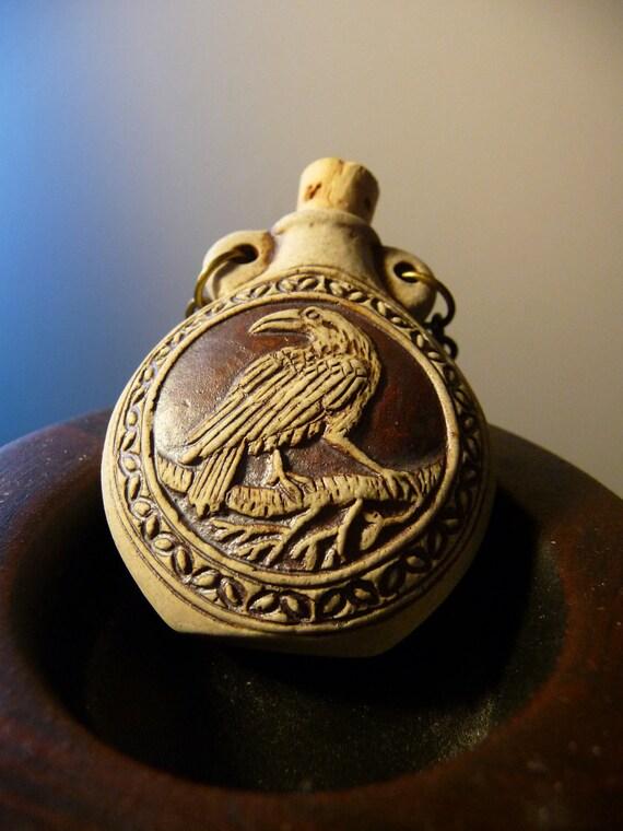 Raven/Crow bottle pendant necklace by vintagerust