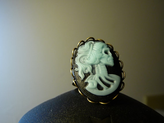 Skeleton Cameo Adjustable Ring in Blue and Black by vintagerust