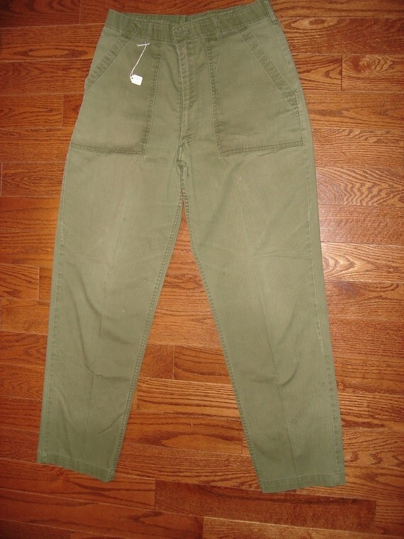 Vintage Military Pants, 1960's-70's Olive Drab Fatigues