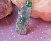 Blue Kyanite Wire Wrapped Pendant - Metaphysical Healing - Aura Cleansing - Yoga - Meditation aid - Reiki Charged