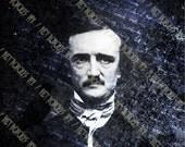 Edgar Allan Poe - Gothic Digital Collage Sheet - The Raven (8x10 Inch A4 Size)  - Digital Download Art