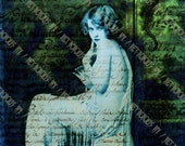 Digital Collage Sheet , Under Water , Retro Pin Up Girl (8x10 Inch A4 Size) , Digital Download Art