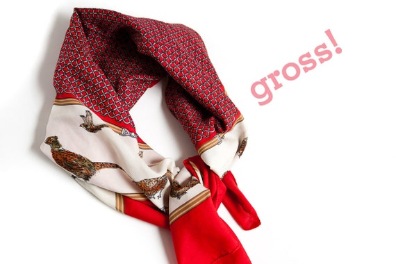 grouse bird quail pheasant printed red silk scarf classy preppy sophisticated