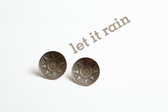 sterling silver round  southwest native american  post earrings