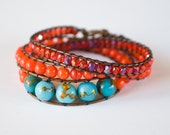 Spring 2012 Hot Colors: Tangerine Tango and Cockatoo Blue Beaded Leather Wrap Bracelet