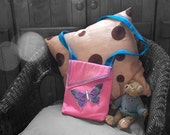 Small Bag Pink Denim, Blue Shoulder Strap with Butterfly Made In France