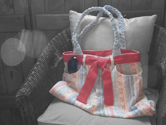 Floral Denim Jean Bag with Coral Lining