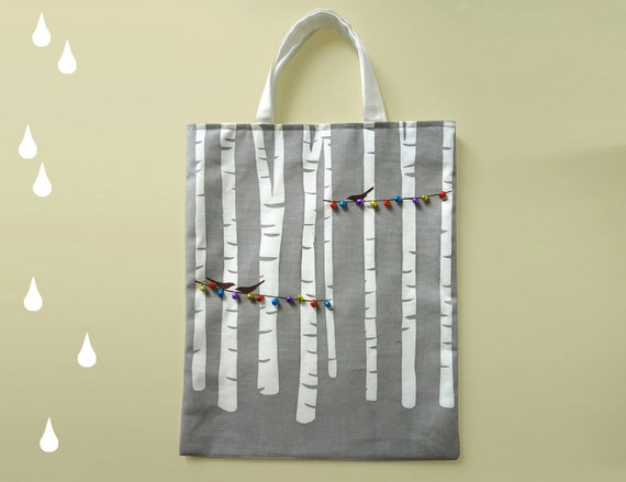 Have you ever taken a walk in a birch wood, Printed bag with colourful bells and birds