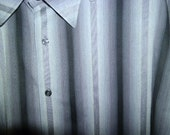 SALE 80's NeW WaVe Gray STriPed MeNs PeRRy ELLiS DreSS ShiRt XL