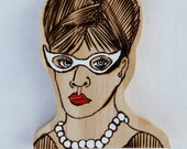 "Wood burned wooden art doll ""The 1950's housewife"""