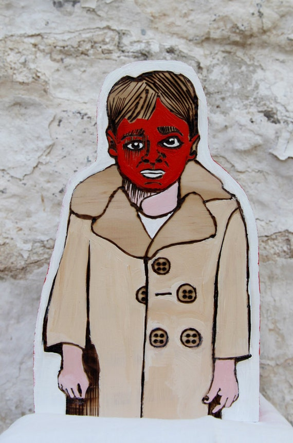 """Painted and Wood Burned Art Doll  """"Red Faced Boy"""""""