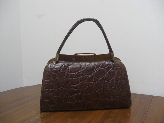 Vintage 1940's / 50's genuine crocodile handbag