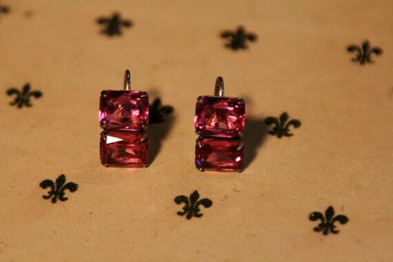 Vintage Pink Quartz Screwback Earrings