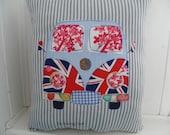 VW Campervan microvan beach bus Union Jack jubilee British applique pillow