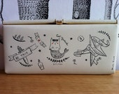 Vintage retro creme evening clutch with hand drawn cat mermaid illustration by Miss Tiny