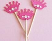 Pink Princess Crown Cupcake Toppers - Set of 24