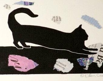 "Black Cat Original Linocut Print/Mixed Media, 6""W x 4""H, pieces of Sunday newspaper"