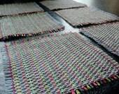 Handwoven 100% Linen Coasters - Cerise, Grey & Green