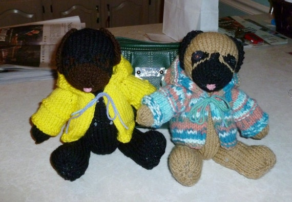 Knit pug with sweater