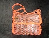 Beautiful medium size bright orange pop tab purse