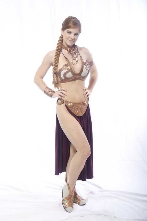 Custom leather slave princess costume based on Leia's metal bikini