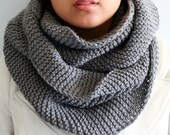 Infinity Scarf - Knit Circle Scarf Shawl - Oversize Extra Soft Cowl with Pocket