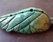2 Leaf Ocarina Flutes, Whistle, Hand built Ceramics, Sculpture, Nature Art