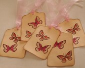 Butterfly Gift tags, Pink Orange, Vintage inspired, Wedding Wish Tree, favor tags, shower tags