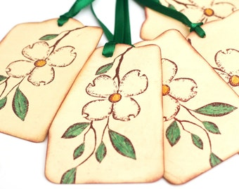 Dogwood Blossom Gift Tags, Floral Tags, Vintage inspired Wedding Tree Tag, Flower Favor Tags,