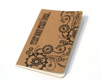 Steampunk embossed journal, mini note books, altered moleskine, Crazy Ideas notebook, birthday gift, Kraft cahier
