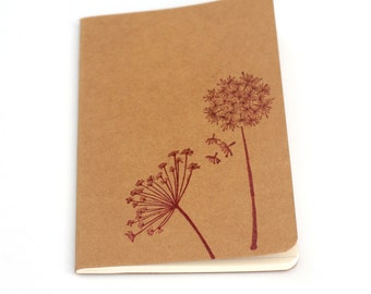 Dandelion notebook, Red Flower Embossed Journal, Moleskine Mini Notebook, Wishes Dreams, Gift ideas