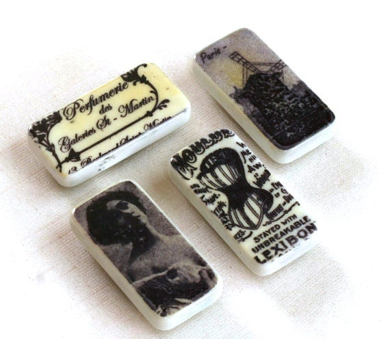 Vintage paris france Domino Magnets Black and White Altered Dominoes, Moulin Rogue Refrigerator magnet, kitchen magnets, gift ideas
