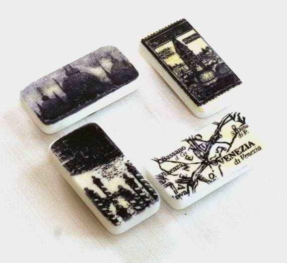 Venice Italy Domino Magnets Black and White Altered Dominoes, Fridge magnets, kitchen magnet set, teacher gift ideas