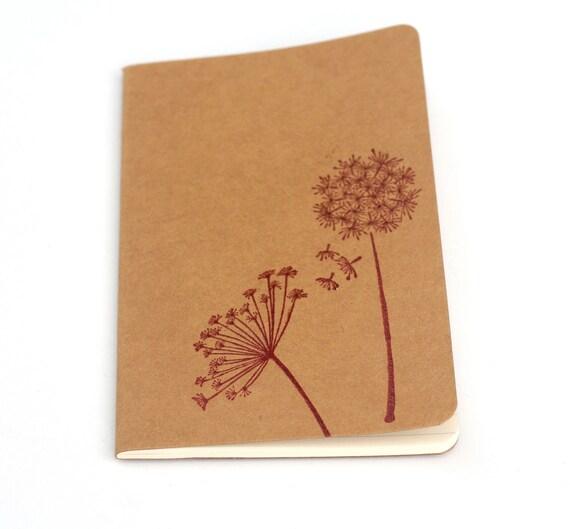 Dandelion notebook, Red Flower Embossed Journal, Moleskine Mini Notebook, Wishes Dreams, Gift ideas