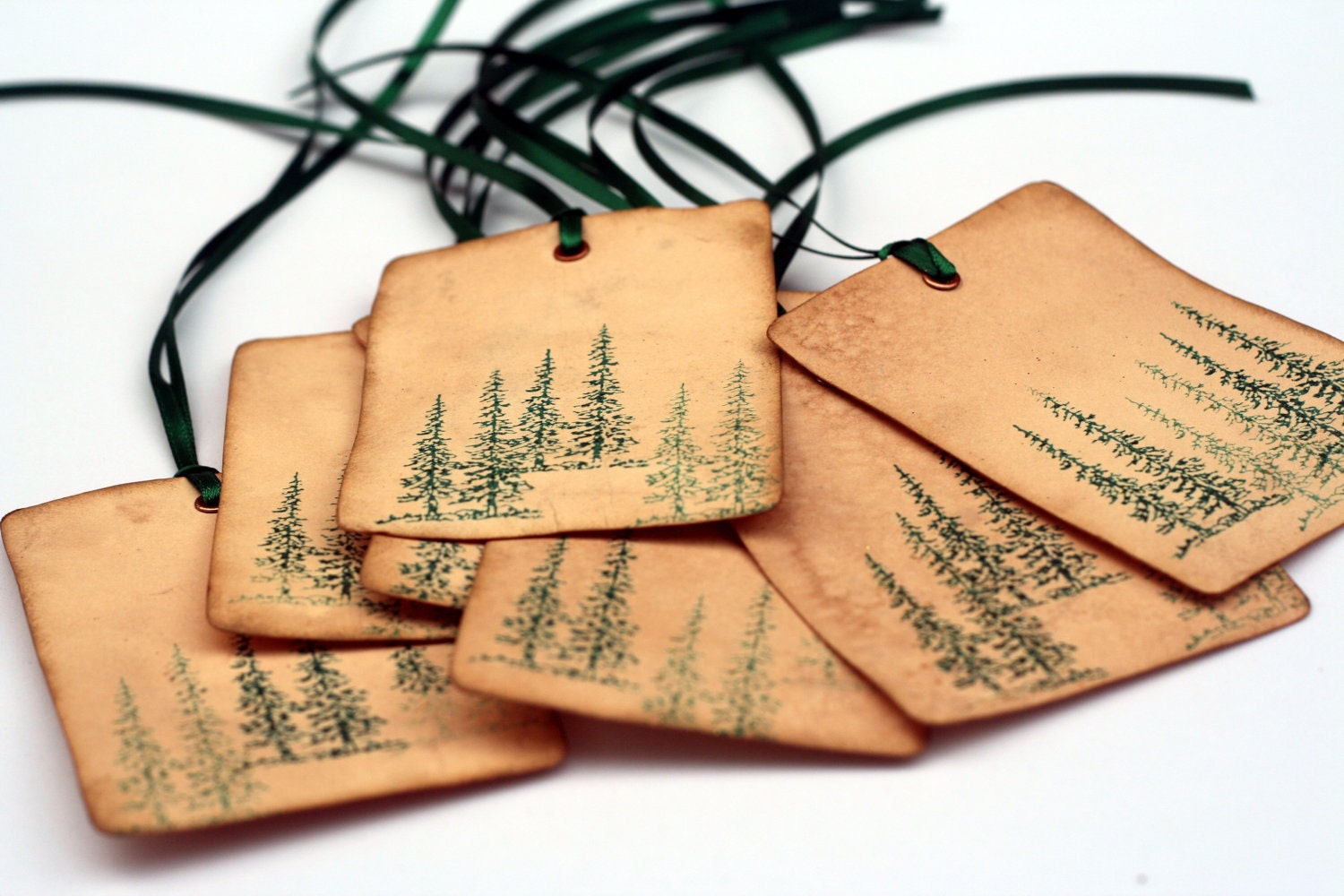 Christmas Tags: Christmas Tags Evergreen Trees Vintage Inspired Tag Gift