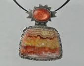 This item  RESERVED for NurseSEP. Canyonland - pendant in fine silver, sunstone and agate