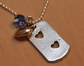 Double heart dog tag necklace