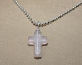 SALE, Rose quartz cross necklace, Cross, Cross Necklace, Cross Pendant, Small Cross Necklace
