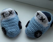 """Crochet baby boy shoes, baby booties """"Taxi"""", baby boy gift, baby shower gift, Ready to ship"""