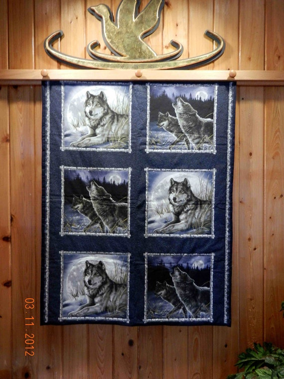 The Wolves- Original Handmade Quilt - Amazing Price Markdown