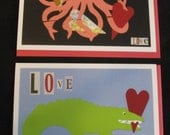 Set of 2 Printed Die-Cut Animal Love Greeting Cards