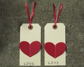 Set of 9 Stitched Die-Cut Heart Hanging Tags, Pre-strung on Red Ribbon and Red and White Bakers Twine
