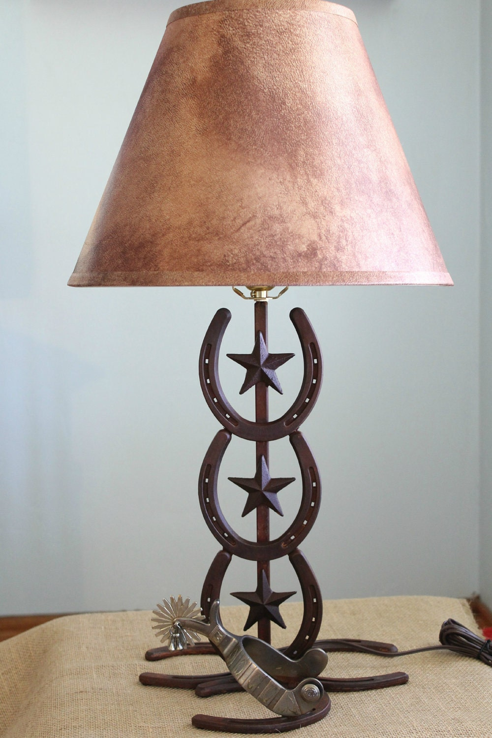 Western lamp horseshoe and spur for Western table lamps living room