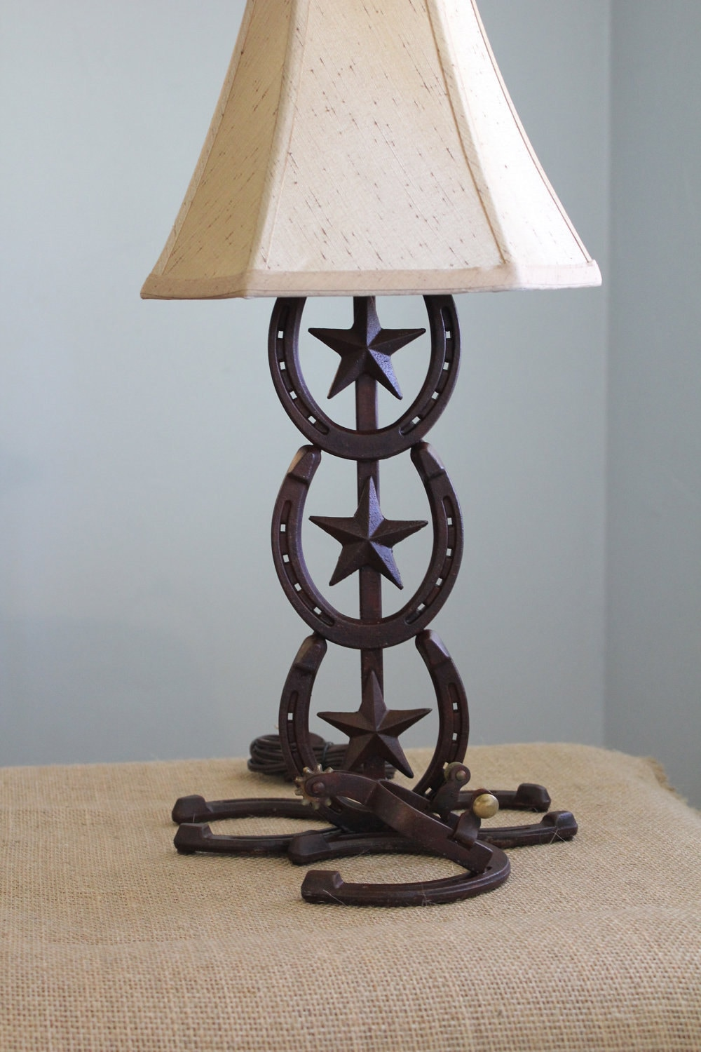 Western Horseshoe Lamp With Spur Accent Pair By