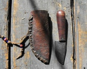 Handcrafted Tiger Striped Maple Skinning Knife W/ High Carbon Steel Blade & Leather Sheath