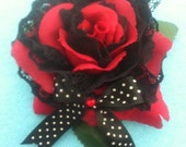 red gothic pin up rockabilly burlesque rose hair flower