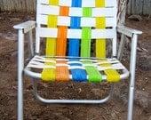 Vintage Aluminum Folding Webbed Lawn Chair
