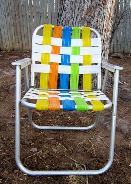Vintage Aluminum Folding Webbed Lawn Chair