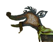 Adorable Metal Moodle Dog Sculpture